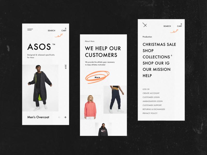 Asos - concept website e-commerce fashion minimal figma black web clean ux ui concept