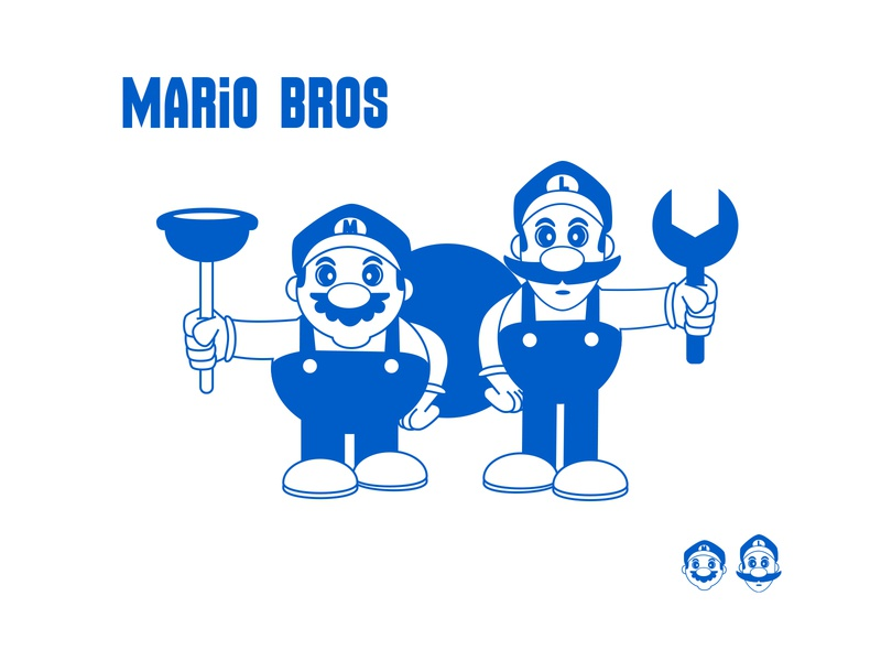 Mario Bros Simple super mario bros mariobros pop art kawaii cute cartoon frooney vector art character design cartooning illustration