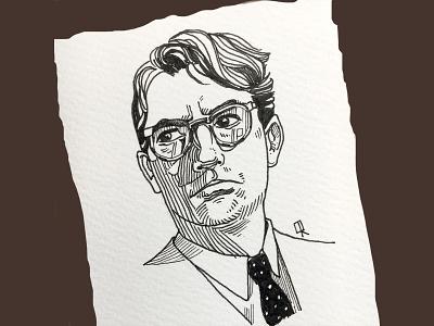 Atticus Finch nintage portrait handdrawn ink and pen crosshatch retro black and white comic art caricature ink art character design line art illustration