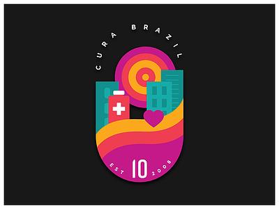 CURA Brazil 10th Anniversary Badge brazil medical non-profit non profit nonprofit branding design branding badge design vector artwork vector art vector illustrator graphic design badge design illustration
