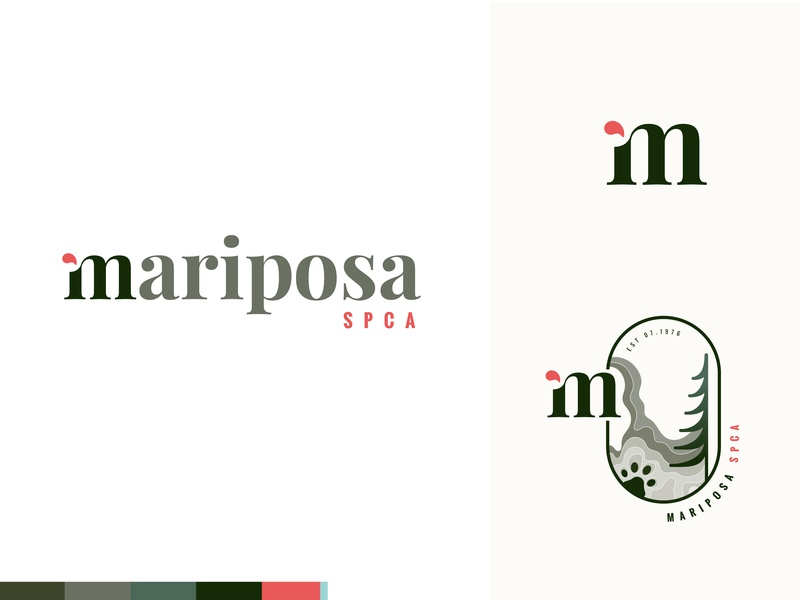 Logo + Branding   Mariposa SPCA epicurrence graphic design non-profit non profit nonprofit badge design badge logo typogaphy logo design vector logo identity design illustration branding