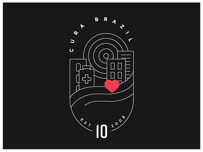 Cura Brazil 10th Anniversary Badge Outline illustrator line art badge design graphic  design vector branding badge design illustration