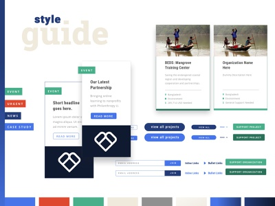 Give2Asia: Initial Style Guide style guide card design web design ui design