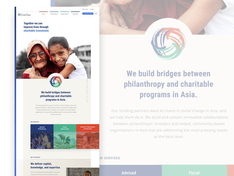 Give2Asia: Our Services branding ui design web design