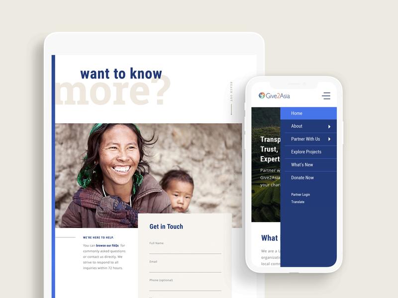 Give2Asia: Tablet + Mobile Screens non-profit nonprofit graphic  design ui design branding web  design web