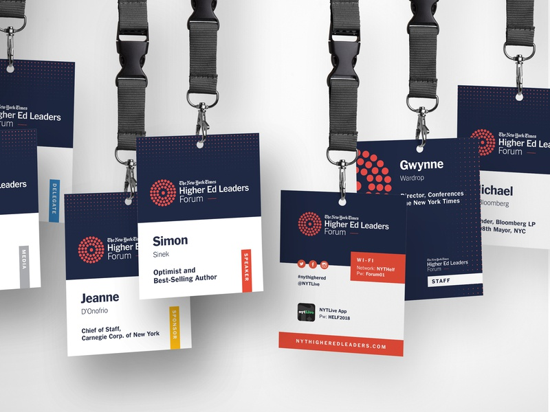 The New York Times | Higher Ed Leaders Forum events conference design badge design conference event credentials print design event design brand design graphics design branding credentials