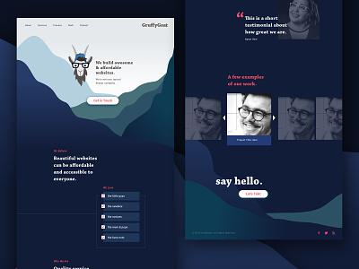 GruffyGoat Website Design svg animation sketch app goat web designer brand designer brand design branding homepage design homepage web layout web  design web