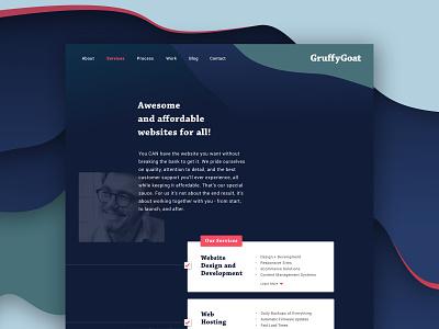 GruffyGoat Website | Services Page services web layout web designer sketchapp web  design web goat branding brand designer brand design