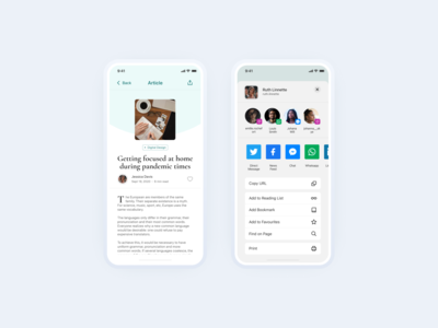 Social Sharing | Articles App design uiux layout exploration app userinterface uidesign interfacedesign dailyuichallenge dailyui social sharing social share