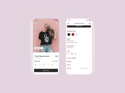 E-commerce product (single item) | Store app design interfacedesign uiux layout exploration userinterface uidesign design dailyuichallenge dailyui single item e-commerce shop