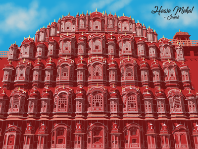 My illustration about Hawa Mahal inspiration colorful satisfying contemporaryart sketch landscape ipadpro creative digitalart artist vector design drawing illustration incredibleindia india jaipur procreate