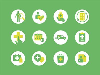 Pharmacy Icons web health check hospital advice medical branding doctor pills prescription health icon medicine pharmacy