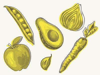 Fruit & Veg illustrations vintage woodcuts garlic healthy eating healthyfood produce graphics pop-art apple avocado carrot vegetable food halftone illustration carving lino woodcut