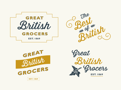 British Grocers green grocer british victorian woodcut logotype plant foodie vintage design lockup lettering typography supermarket vintage logo vintage heritage food