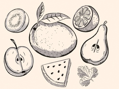 Market Fruit apple design health food ink sketch drawing fruit illustration supermarket grocery market watermelon health fruit mango apple
