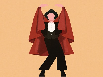 Flamenco grain theatre cape vintage man illustration spanish dancing flamenco