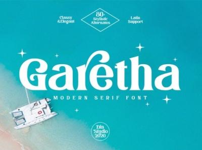 Garetha - Modern serif font display ui icon logo design font fonts logo type typography branding