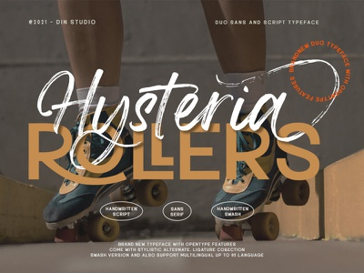 Hysteria Rollers – A Sans Script Font Duo duo font font duo logo design lettering handlettering font typography logo type fonts branding