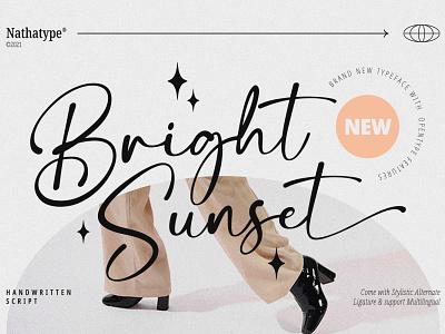 Bright Sunset - Handwritten Script Font illustration lettering handlettering font logo type fonts branding