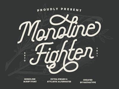 Monoline Figther - Monoline Script Font natural font monoline font monoline script font script logo illustration design lettering handlettering typography font logo type fonts branding