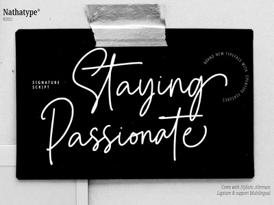 Staying Passionate - Signature Font script font scrit signature font signature handwritten font handwritten typography illustration handlettering font logo type fonts branding