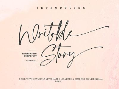 Writable Story - Handwritten Script Font typeface handlettering design typography logo type logo branding fonts font