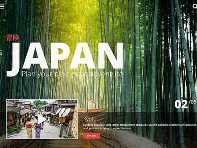 Study: Tourism site website slider rotator ux ui japan principle transitions animation homepage travel web