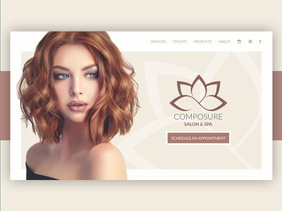 Study: Hair Salon minimal soft ui ux website web hair spa salon