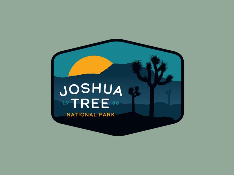 Joshua Tree National Park graphic illustration typography type desert outdoor badge patch