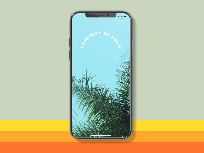 Summer at Soco vintage palm tree tropical iphone screen instagram stories digital graphic design church arkansas