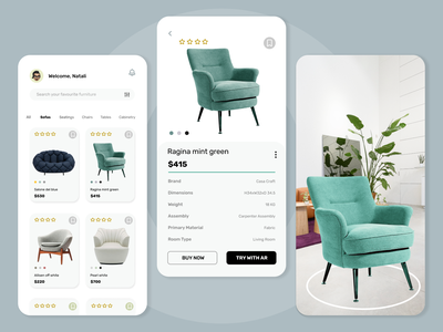 Application Design for Furniture with AR technology figma branding furnitures creative agency design mobileapp creative uiux uxdesignmag