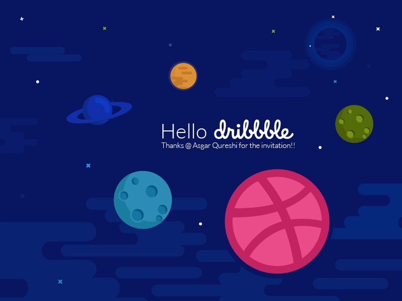 Shot debut illustration hello first shot dribbble design colours colourful galaxy