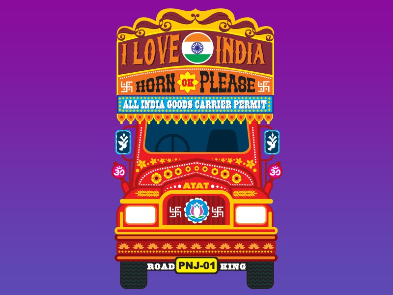 Indian Truck icons colours illustration design vector traditional truck