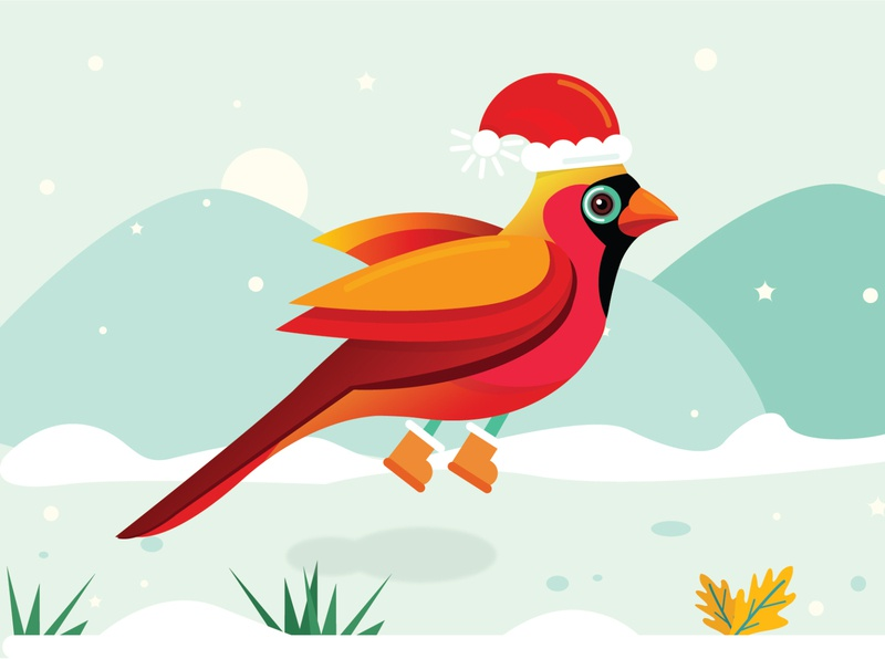 Merry Christmas bird creative bird artwork adobeillustration happiness digitalart christmas dribbble vector illustration