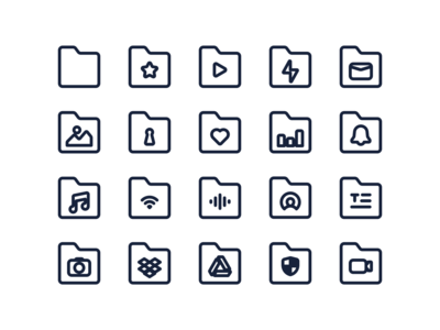 Folders Icon Pack Stroke