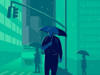 Rainy at Night. elegant graphic webdesign vector website ux ui design ui  ux design night illustration design illustration art ui illustration ux designer umberella rainy green illustration design uiux ui ux