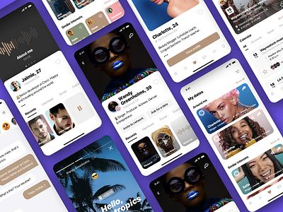Social app screens vol.1 tinder swipe place instagram event design audio ui application dating profila meetings chat iphone ios mobile social app