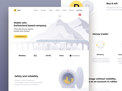 Stablecoin site mountains bank design ui safe ruble site web cryptocurrency money switzerland finances coin stablecoin crypto