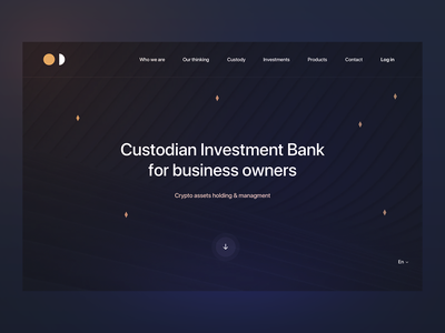 Custodian Investment Bank banking account currency hold crypto cryptocurrency invest custody money dark blue site web bank