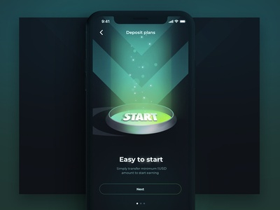 Boarding for Deposits slider start boarding ui earn dark btc usd money deposit ios app wallet