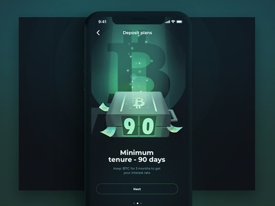 Boarding step 2 glow ui boarding ios app dark green terms profit hold money wallet bitcoin