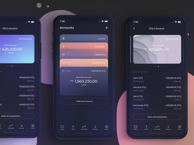 Card stack in bank app service crypto wallet pay phone ios money bank iphone app ui design cards