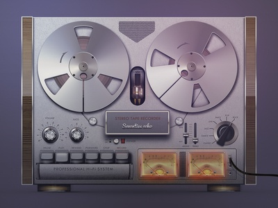 Old-fashioned Audio Tape Recorder