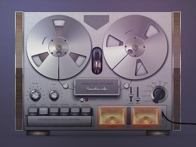 Old-fashioned Audio Tape Recorder 1970 stereo music device analog old fashioned play recorder tape vintage retro audio