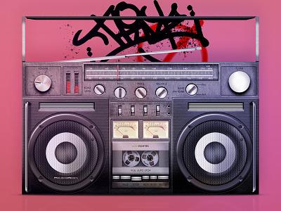 Cassette recorder retro vintafe play boombox 80th 1980 vector ui recorder cassette tape audio