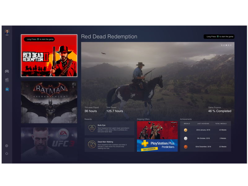 Playstation Concept Interface interace webdesign rebranding tv interface iconography ufc batman red dead redemption ux design darkui playstation4 gaming user experience user interface