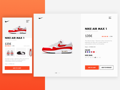 NIKE PRODUCT PAGE - Nike air max 1 nike air nike air max nike air max 1 nike product card product card ui design ux design nike
