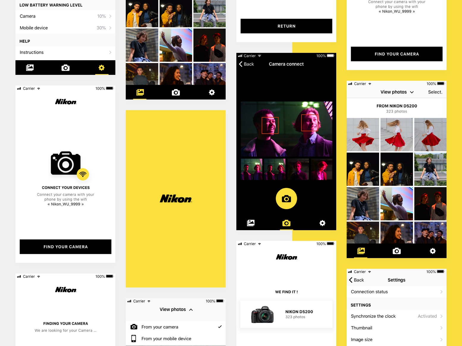 Nikon wmu connect redesign mobile app design wmu application android white yellow connect camera dslr app nikon wmu ios app mobile app nikon app nikon camera connect