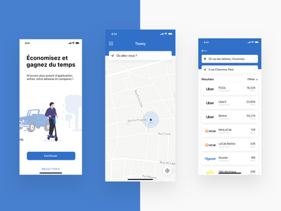 Treasy - Transport app navigo app navigo blue ios app ios iphone x mobile app mobile transport app transport uber car bike app