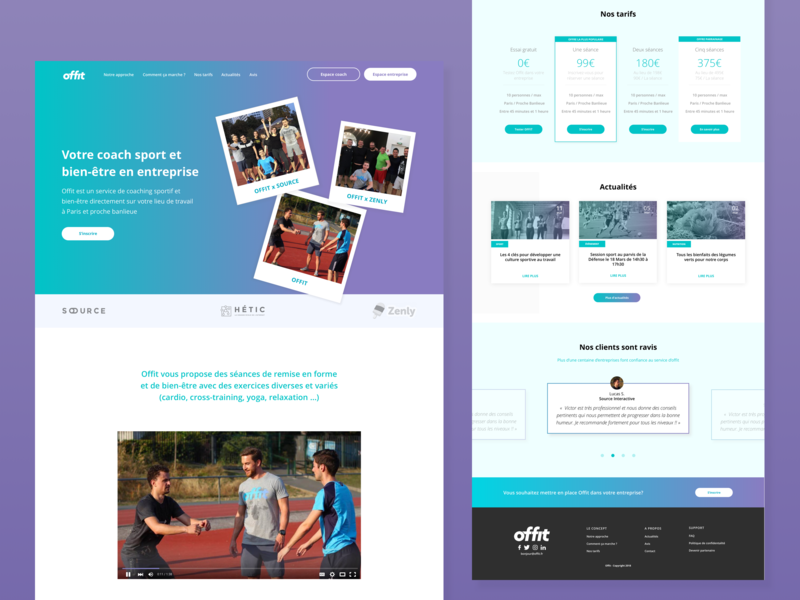 Offit - LANDING PAGE web design ux design ui design sport app sport interface browser landing page app concept app
